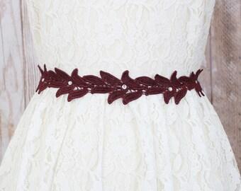 Wine Lace Sash Belt, Wine Burgundy Leaves Lace Sash, Bridal Sash, Bridesmaid Sash,Flower Girl Sash