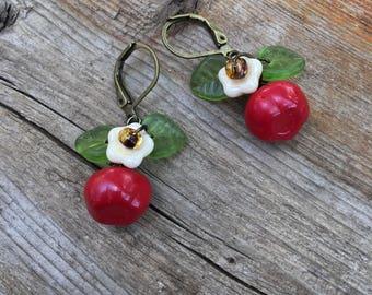 Apple Earrings, apple jewelry, czech red apple earrings, red earrings fruit jewelry
