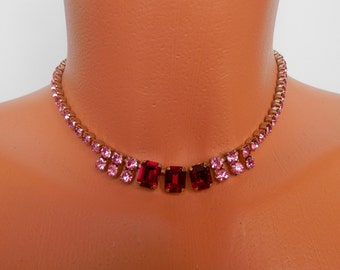 Vintage 1950s Necklace, Pink Rhinestones, Pin-Up, Antique Jewellery