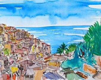 Vernazza Colorful Cinque Terre on Italian Riviera - Fine Art Print - Original Available