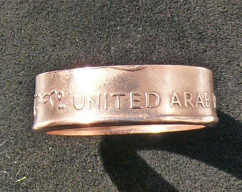 Bronze Coin Ring 1973 United Arab Emirates 10 Fils, Double Sided and Ring Size 11