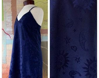 Sun and Moon Nightie Large • Vintage 80s Navy Blue Nightie • Celestial Print • Smiling Sun Print • Lingerie • 80s Nightdress • Ladies Slip