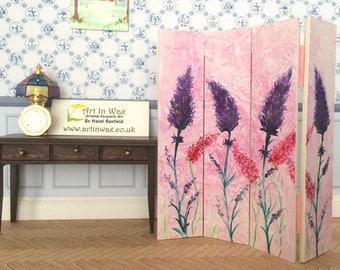 Dollhouse Furniture Pink flower miniature screen room divider Dolls House Screen Original art