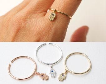 Mini hamsa hand ring with blue stone - cz tiny hamsa hand dangle ring - adjustable ring  - silver - gold - rose gold - hand of fatima