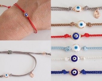 evil eye silk bracelet  - tiny eye bracelet - silk cord evil eye bracelet - adjustable eye bracelet -