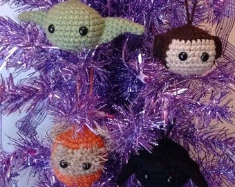 Set of 4 Star Wars Inspired Ornaments - Mini  Plushies- Dolls
