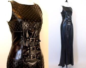 Vintage 90s black vinyl gothic lip service maxi dress hot topic womens size S faux vegan leather