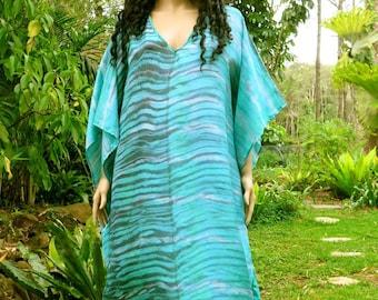 Silk Kaftan with Ocean Colors, Cover up, Summer Dress, Silkz design