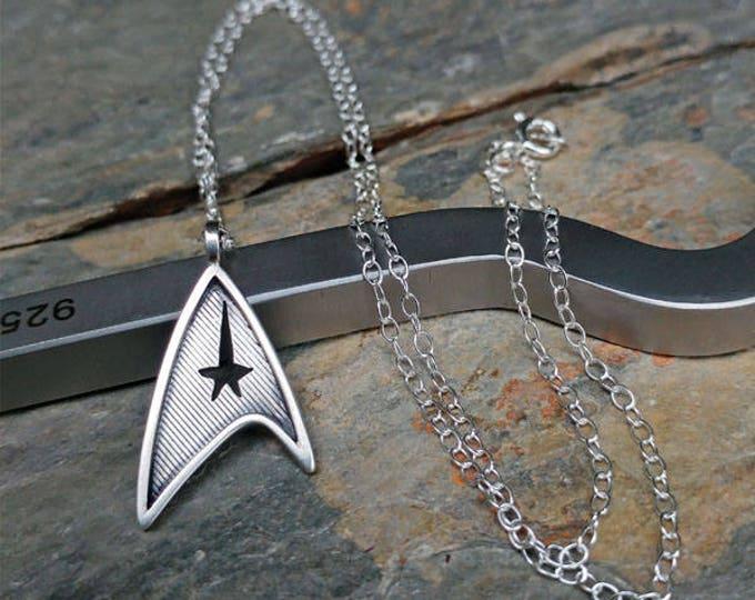 Featured listing image: Star Trek Star Fleet Insignia Sterling Silver Pendant Necklace - Geek, Sci Fi, Trekkie