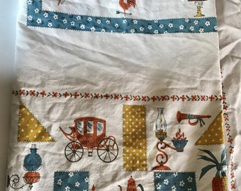 "Vintage large novelty print rectangular Tablecloth 50"" by 62"""