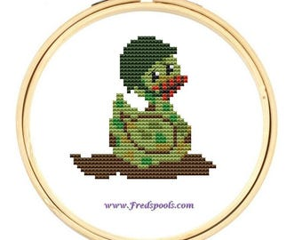 Modern Cross Stitch Kit 'Army Soldier Duck' Cross Stitch Kit - Duck