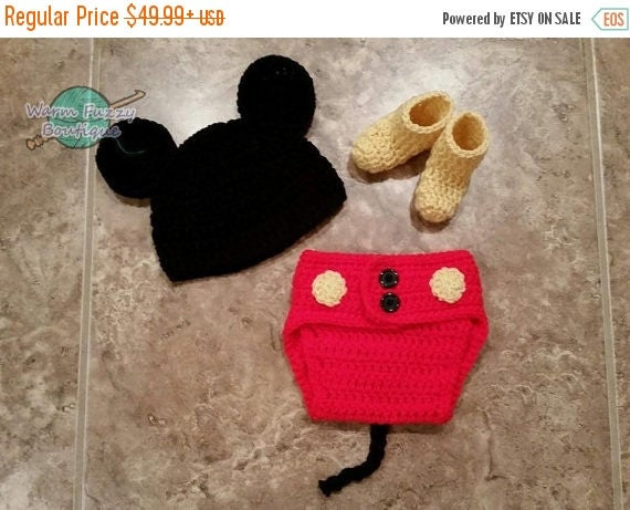 SALE 20% OFF Baby Mickey Mouse Inspired Costume Set Hat Diaper Cover Booties - Crochet Winter Outfit Newborn Boy Girl Halloween  Photo Prop