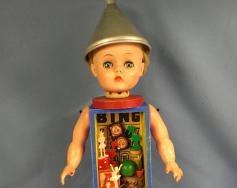 Vintage mixed assemblage collage display doll with 3-D eclectic parts
