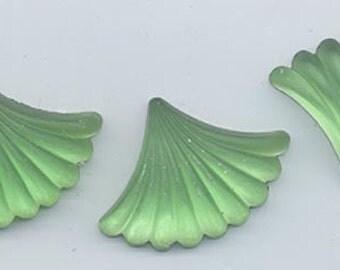 Two uncommonly beautiful high-end Czech glass fan-shaped cabochons - glowing rich matte light peridot - 25 x 19 mm