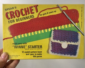 Vintage Spear's Crochet For Beginners (1972)  Craft Kit, Original Box