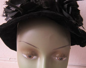 Black Velvet Hat with Black Roses and Feathers
