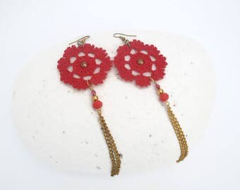 Long crochet earrings - Chain earrings - Red jewelry - Extra large earrings