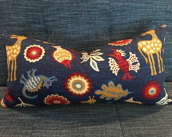 IN STOCK /  Blue, Red, Gold Southwest Pillow Cover / 12 x 24