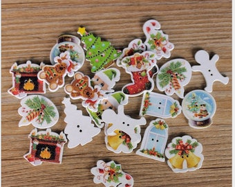 """30 PC Painted wood buttons 30mm - Wooden Buttons ,buttons, natural wood buttons """"Christmas"""" A081"""