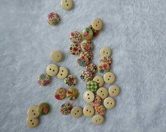 """30 PC Painted wood buttons 15mm - Wooden Buttons ,buttons, natural wood buttons """"flower"""" A087"""