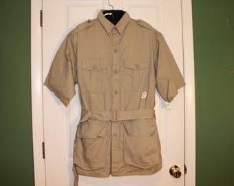 Deadstock KHAKI Jungle SAFARI JACKET with Belt Nos New Old Stock Unworn Tags Cargo Pockets Military Shoulder Epaulets Cotton Usa Surplus Xl