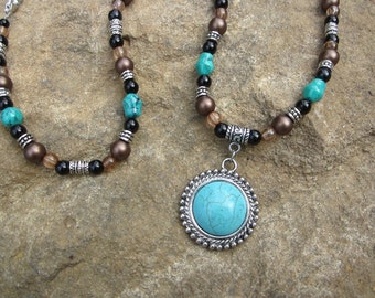 Beaded Necklace with Turquoise Charm -Brown,Black,Silver #389