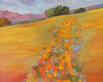 Poppies, landscape art, California poppy, poppy painting, California Poppies, poppy flower, poppy prints, poppy flower, orange  flower