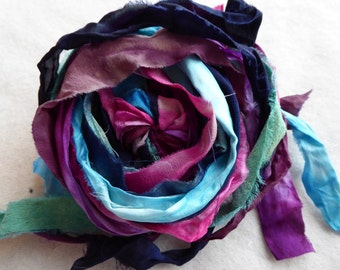 15 hand dyed silk ribbons approx 1m each mix of texture/colour - FR74