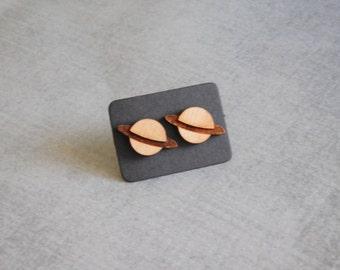 Saturn Planet Posts : Wood Laser Stud Earrings