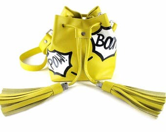 NEW! Comic Mini Bucket Bag | Drawstring Bag | Shoulder Bag | Crossbody | Cowhide | Leather | Handmade | Tassel | Fringe | Yellow | Pow