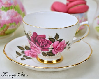 Colclough Teacup and Saucer Set Featuring Pink And Red Roses, English Bone China Tea Cup, Garden Tea Party, ca. 1962