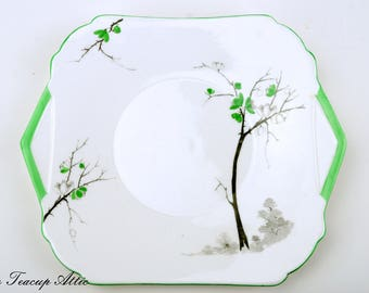 Shelley Art Deco Green Tree Cake Plate, Vintage English Bone China Cookie Plate, ca. 1945-1966
