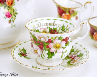 Royal Albert Teacup and Saucer Flower of the Month Series December, English Bone China Tea Cup Set with Christmas Rose, ca 1970