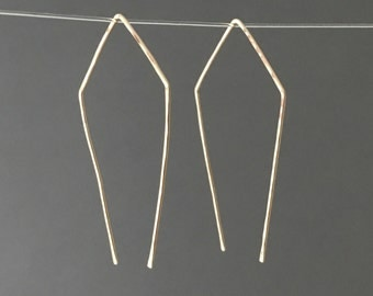 Geometric Pull Through Earrings in Gold Fill, Rose Gold Fill or Silver