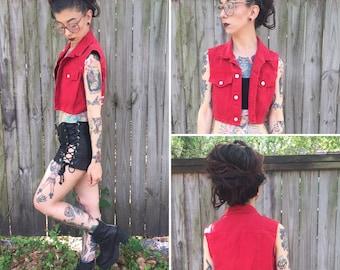 Vintage Red M Bongo Crop Vest Denim Small