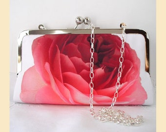 Wedding clutch bag, shoulder bag, evening bag, red clutch, white, bridal purse, bridesmaids gift, personalisation