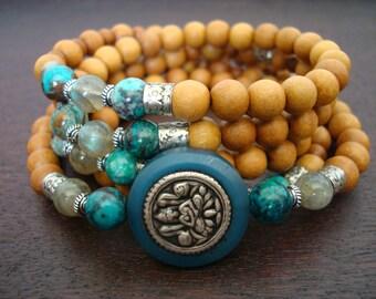 Women's Wealth, Beauty, & Harmony Mala // Lakshmi, Chrysocolla, Sandalwood Mala Necklace or Wrap Bracelet // Yoga, Meditation, Jewelry
