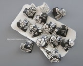 12 origami balloon hearts || black and white wedding hearts || paper heart favors || | bridal shower favors | gifts for her -black roses