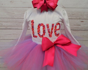 Valentines Day outfit, FREE SHIPPING, girl outfit, pink purple tutu, LOVE, Valentines day, girl clothing, hearts, skirt, february outfit,