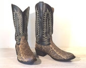 Vintage Cowboy Boots, Cowtown Snake Skin & Black All Leather, Men's size 8.5 D / Women 10