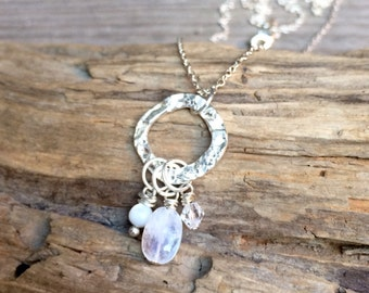 Moonstone & Sterling Silver Drop Necklace