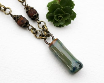 Green Bead Necklace, Pendant Necklace, Gemstone, Beaded Jewelry, Long Necklace, Beaded Necklace, Layering, Green Necklace