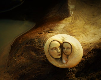 We Were One, Simplicity Shell Sculpture, Mom and Baby, Child Sculpture by ShapingSpirit