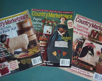 Country Marketplace Magazines...Three Copies...Vintage Craft Magazines..2005 Country Crafts Books...Complete..