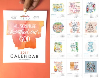 CLEARANCE 2017 Watercolor Bible Verses Calendar - A collection of 12 fine art archival prints