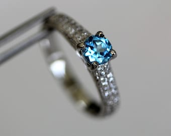 Swiss Blue Topaz Round in an Accented Sterling Silver Ring