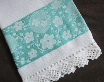 Damask Hand Towel Vintage Edwardian Guest Bathroom Towel with Crocheted Lace Trim White and Aqua Blue