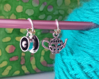 Teapot/Tea Cup Knitting Stitch Markers-Set of 2-Fits to US10-Metal Knit Markers -Tea Theme*Teapot*Cup of Love*