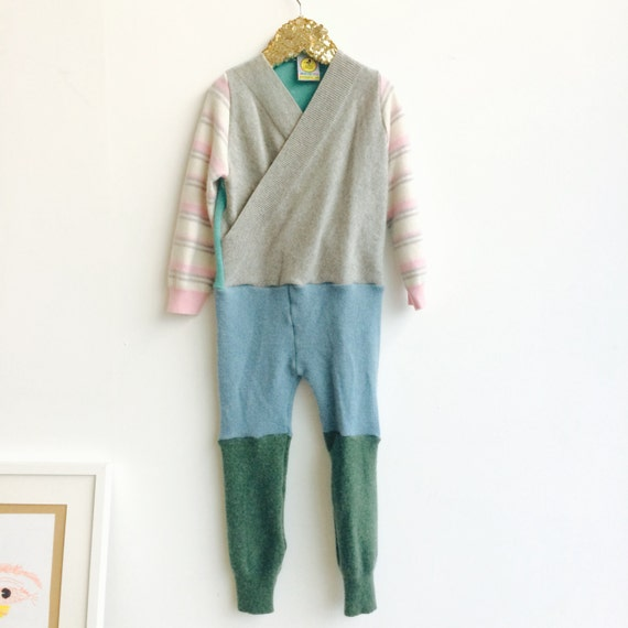TIPTOE 4-5 Years Kids Cashmere Suit Childrens Onesie Jumpsuit One Piece Jumper Romper Playsuit Upcycled Cashmere Unisex