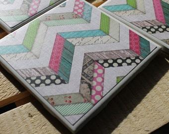 Variety Chevron Four Piece Ceramic Tile Coaster Set